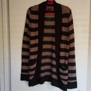 Bobeau Striped Cardigan With Pockets Size Small